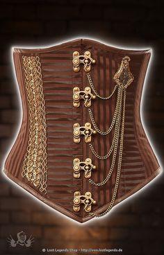 Traumhaftes Steampunk Korsett der Extraklasse, mit hochwertigen Spiralstäbchen, Schnürung im Rücken und Taillenverstärkung.