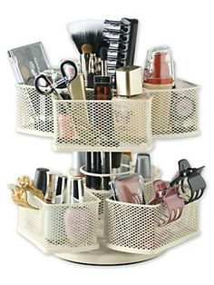 Keep cosmetics organized with this Makeup Carousel | Solutions.com #Makeup #Beauty #Cosmetics