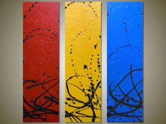 MASSIVE 48 Original Abstract Triptych Acrylic by gilliansarah, $499.00