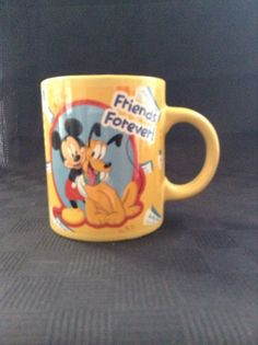 Monogram Disney Mickey Mouse Pluto Friends Forever Yellow Coffee Cup Mug #Monogram