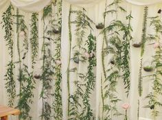 Foliage curtain hanging wedding flower inspiration from Joanne Truby Floral Design Wedding Flower Guide, Wedding Ideas Board, Wedding Flower Inspiration, Floral Wedding, Wedding Flowers, Hanging Flower Arrangements, Hanging Flowers, Round Table Centerpieces, Spring Forest