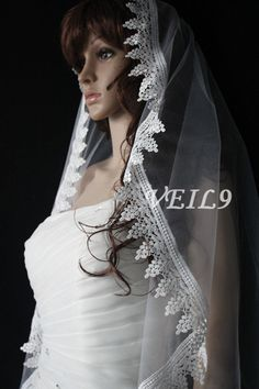 Retro Lace Wedding Cathedral Veil Bridal Long white by VEIL9, $42.99