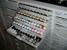 Photo of some of the Best Organizer drawers in Cindy's  new craft room -  Ramblings from my Rubber Room: My Remodeled Stamp Room! Amazing craft room!
