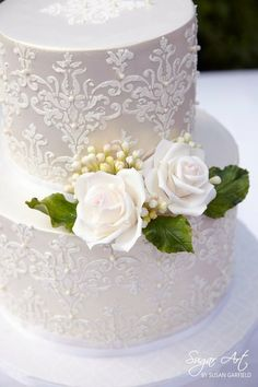 White Silk damask, Lace  and  Roses