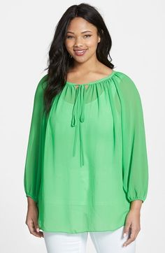 Vince Camuto Long Sleeve Peasant Blouse (Plus Size) available at #Nordstrom