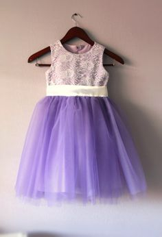 Flower Girl Lace Tutu Dress Lavender Purple by LudasBoxOfTreasures