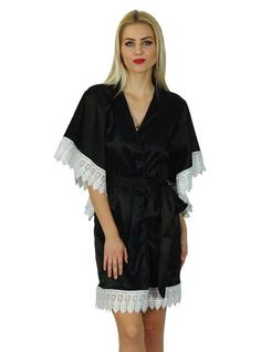 f78d1ee9e0 Bimba Women Kimono Sleeve Short Satin Robe Getting Ready Bride Bridesmaid  Sleeve Short