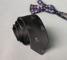 On sale for another <1m at $0.99 is this great NEW Man Fashion Black Skull Party Neck Tie Necktie Narrow Slim Skinny A. Follow for more great mens fashion neck ties! #mensfashion