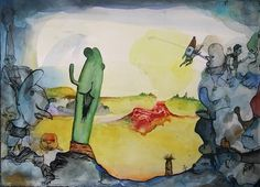 "Bart Johnson, Red Wound in the Desert, ink and watercolor on paper, 10"" x 15"", 2012"