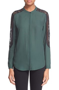 The Kooples Lace Inset Crepe Shirt available at #Nordstrom