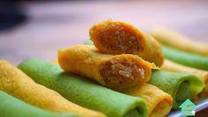 How to make Pumpkin & Pandan Roll Crepes with Sweet Coconut (Kuih Ketayap) ! - YouTube