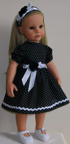 "Polka dot dress & alice band  to fit 18"" Dolls Designafriend/Gotz hannah"