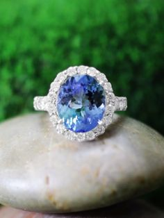 ONE-OF-A-KIND: Tanzanite and Diamond Halo Cocktail <Prong> Solid 14K White Gold (14KW) Estate Engagement Ring