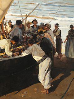 """MARTÍNEZ-CUBELLS RUIZ, Enrique (Madrid, 1874 – Málaga, 1947).""""Pescadores"""".Óleo sobre lienzo.Firmado en el ángulo in"""