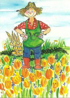 by Virpi Pekkala Garden Theme, Garden Art, Cat Doodle, Finger Art, Garden Pictures, Flower Fairies, Whimsical Art, Cute Illustration, Watercolor Flowers