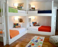 kinderzimmer für mehrere Kinder möbel etagenbetten kräftige farben