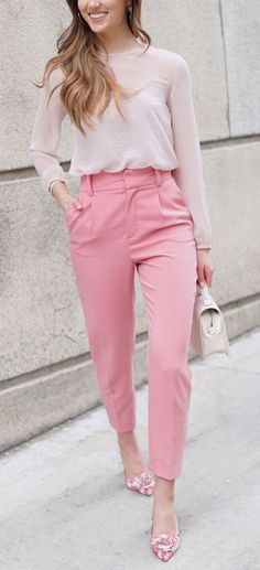 HEAD TO TOE PINK OUTFIT for spring - hot pink high waisted trousers with sheer pastel pink top and pink floral slingback sandals. #fashion #outfit #springoutfit #pink #pinkoutfit #pinktop #pinkshirt #pinkpants #pinkshoes #blogger #blog Marie's Bazaar