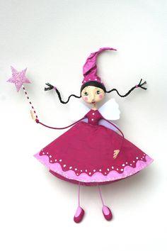 Poupée Brune à la robe rose : Autres par au-petit-bazartistik