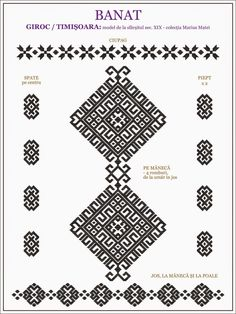 Semne Cusute: ie de BANAT - Timisoara, Giroc Cross Stitch Borders, Cross Stitching, Cross Stitch Patterns, Embroidery Motifs, Embroidery Designs, Russian Cross Stitch, Wedding Album Design, Traditional Art, Beading Patterns
