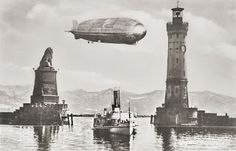 Zeppelin Airship flying over Lindau Germany, 1930s  Photographer: Mauch, Oberstaufen, Germany