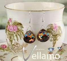 Earrings with peacock multicolored Swarovski crystals by byVellamo,