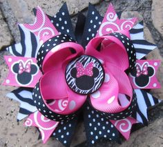 Minnie Mouse Inspired Pink Zebra Print Boutique Hair Bow for Disney World Trip or Birthday Party