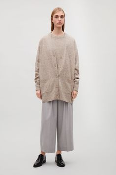 COS image 23 of Speckled oversized wool cardigan  in Sand