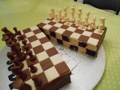 chess board with chequed cake