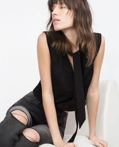 TOP WITH BOW-T-shirts-WOMAN-SALE   ZARA United States