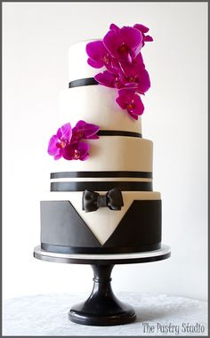 Radiant Orchid-Tuxedo Wedding Cake  By: The Pastry Studio, Black and white weddings, Orchid Wedding Cakes, Formal Wedding Cakes, Black Tie Weddings,