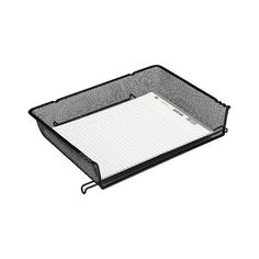 Rolodex Nestable Letter Sized Wire Mesh Stacking Side Load Tray ($5.49) ❤ liked on Polyvore featuring home, home decor, office accessories, black, desk organization, office supplies, paper/letter tray, stationery & office supplies, black tray and wire mesh tray