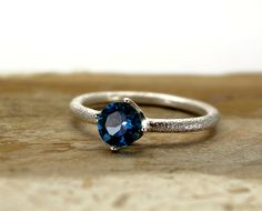 London blue Topaz sterling silver ring  Hand engraved gemstone ring  December birthstone ring  Engagement Ring (65.00 USD) by ONEIROXORA
