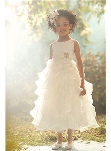 Fancy A-line Scoop Sleeveless Tea-length Pleats  Flower Girl Dresses