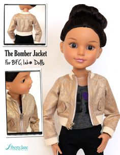 Bomber Jacket for BFC, Ink. Dolls from pixiefaire.com