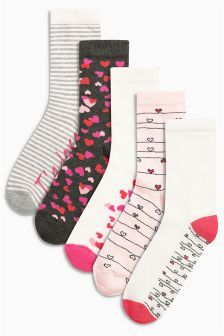 Grey/Pink/White Valentines Ankle Socks Five Pack