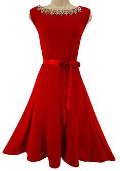 XL X-LARGE NWT SEXY Women RED DRESS w/ CRYSTAL NECKLINE Evening Wedding Cocktail #HAANI #FlounceHem #Versatile