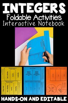 Algebra interactive notebook activities for Integers. Includes folding instructions and text is editable. Students can make their own algebra textbook inside of a notebook for meaningful, hands-on learning. Product also includes guided notes and quick checks for understanding. Algebra Interactive Notebooks, Math Notebooks, Integers Activities, Math Activities, Negative Integers, Algebra Lessons, Positive Numbers, Number Words, Math Concepts