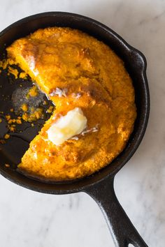 A really easy recipe for Pumpkin Cornbread made in a skillet which gives it the most perfect crust!