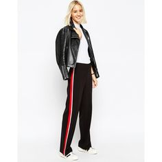 ASOS Wide Leg Pant with Side Stripe (475 DKK) ❤ liked on Polyvore featuring pants, black, loose black pants, loose pants, lightweight pants, tall wide leg pants und black stretchy pants