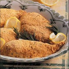 Baked Lemon Chicken - Easy and good. Husbands seem to really like this one. Only thing I did different was cook it under the broiler on low for about 5 more minutes to give it that crunch. Perfect!