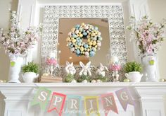 Blooming Spring Mantle with eggs & bunnies! Adventures in Decorating