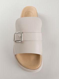 Jil Sander Buckle Platform Sliders - Vanilla Shoes & Bags - Farfetch.com