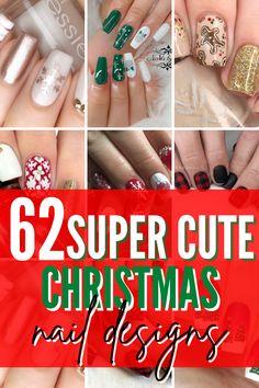 Diy Christmas Nails Easy, Cute Christmas Nails, Christmas Manicure, Green Christmas, Holiday Nails, Simple Christmas, Red Nail Designs, Simple Nail Art Designs, Winter Nail Designs
