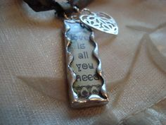 LOVE is ALL you NEED  Soldered Glass  Art  by victoriacharlotte, $7.75