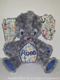 Grey Minky Rose Swirl Personalised Elephant