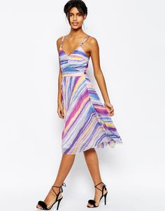 Image 4 of ASOS Sheer And Solid Pleated Midi Dress in Bright Stripe