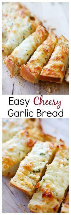 Easy Cheesy Garlic Bread – Turn regular Italian bread into buttery & cheesy garlic bread with this super easy recipe that takes only 20 mins | rasamalaysia.com @CrunchyCreamySw