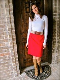 turtleneck, pencil skirt, boots