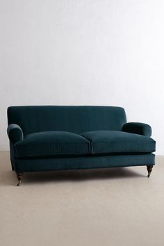 Velvet Willoughby Settee, Hickory - anthropologie.com
