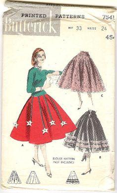 "50's Butterick Sewing Pattern - Festive Full Skirts 7541 Waist 24"" Hip 33"". $15.00, via Etsy. Skirt Patterns Sewing, Vintage Dress Patterns, Clothing Patterns, Vintage Dresses, Vintage Outfits, Skirt Sewing, Vintage Clothing, Fifties Fashion, Vintage Fashion"